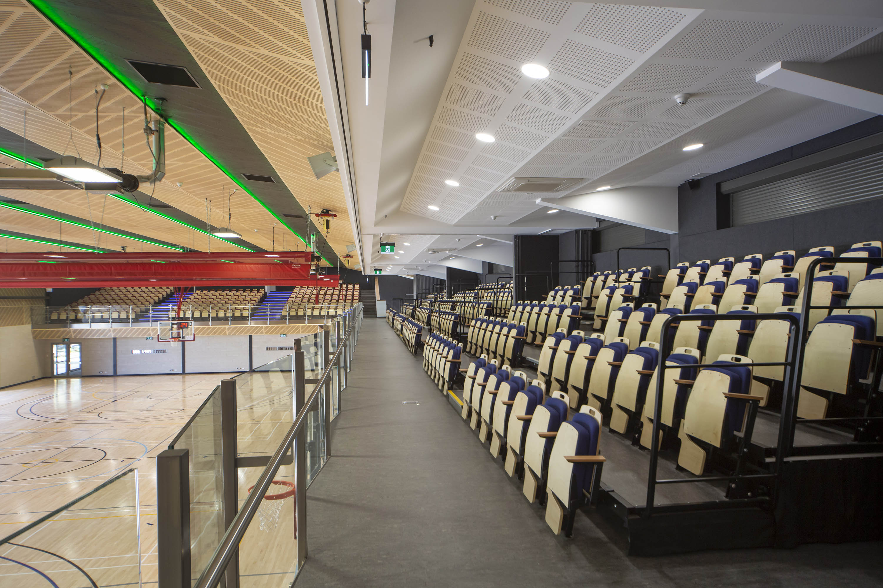 retractable seating, stadium seating, sports hall seating